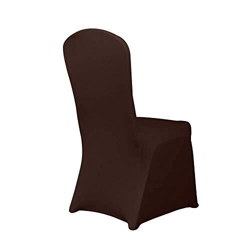HAORUI Spandex Stretch Lycra Stuhlhussen Set von 4 modernen Polyester Lycra Stuhl-Schonbezüge für Hochzeit Party Jubiläum Dinning Dekoration (eine Packung mit 4, Schokolade)