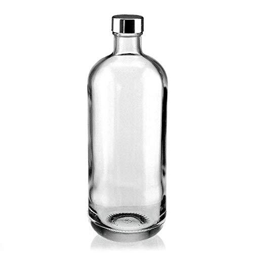 BrandPrint, Bottiglia in Vetro Modello Artemide 1 Litro con Tappo a Vite Colore Alluminio. per Bevande e Succhi.