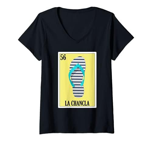 Mujer Lotería de Supervivientes Chancla Regalo - Lotería Mexicana La Chancla Camiseta Cuello V