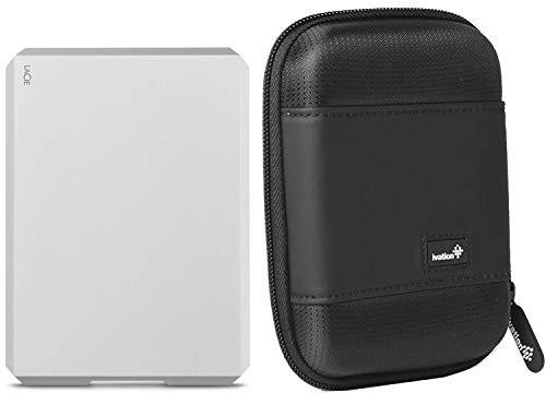 LaCie 4TB Mobile Drive External Hard Drive STHG4000400 USB-C/USB 3.0/Thunderbolt 3 f/Mac & PC, Moon Silver w/Carrying Case, 1 Month Adobe CC