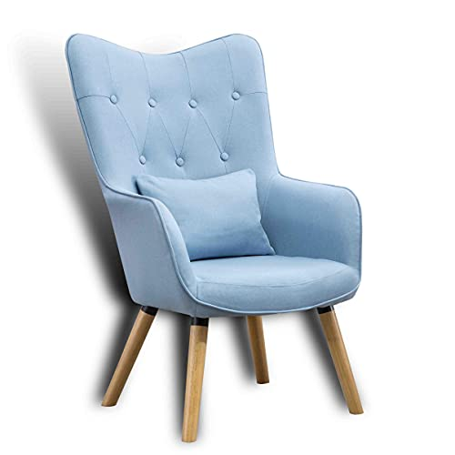 ESTEXO Fernsehsessel TV Sessel Lounge Relaxsessel Polstersessel Lesesessel Stoff Kissen Hellblau