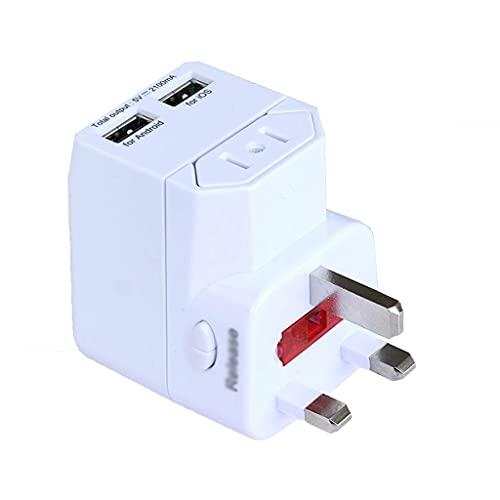PIAOLING Conjunto de Enchufe del Adaptador de Viaje, con 2 USB, una Caja Fuerte Ultra compacta, teléfonos celulares, computadoras portátiles, Cargadores de cámara