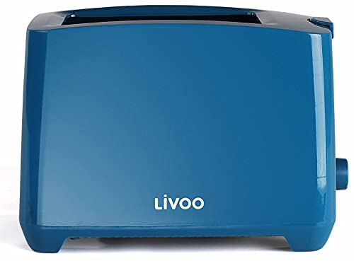 Toaster Blau mit Krümelschublade Regelbarer Thermostat Lichtanzeige mit 3xLED (Manuelle Abschaltung Aufwärmfunktion Auftaufunktion, 750 Watt, 2 Toastschlitze)