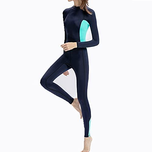 TSRJ Ultra Stretch Neoprenanzug, Ganzkörper-Tauchanzug mit Reißverschluss vorne, EIN Stück zum Schnorcheln für Frauen, Tauchen, Schwimmen, Surfen,Blue-M