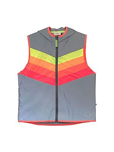 gofluo. Darkflow Reflektorweste - Darkjacket - Fluo Neon - Warnweste - Reflektierende Weste - Sichtbar im Dunkeln für Wanderer, Joggen, Fahrrad, Motorrad - Grau - S