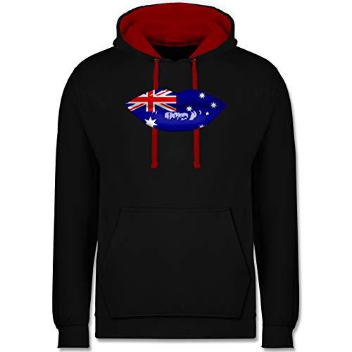Shirtracer Länder - Lippen Bodypaint Australien - S - Schwarz/Rot - Kuss - JH003 - Hoodie zweifarbig und Kapuzenpullover für Herren und Damen