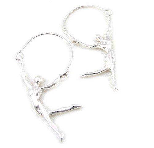 925 Sterling Silver Gymnast Dancer Earrings