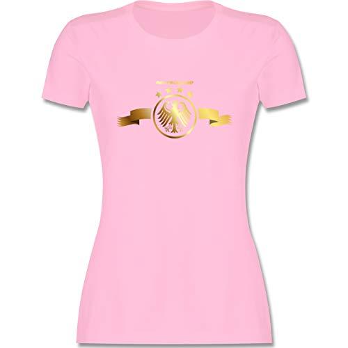 Fußball-Europameisterschaft 2020 - Deutschland Adler Gold - L - Rosa - fußball wm 2018 t-Shirts Damen - L191 - Tailliertes Tshirt für Damen und Frauen T-Shirt
