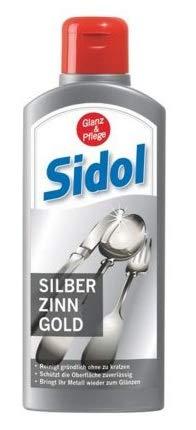 SIDOL Silber Zinn Gold 250ml Reinigt gründlich Tafelgeschirr, Besteck, Schmuckstücke, Zinnkrüge, Zinnfiguren, Chrom-Oberflächen und vieles weitere ohne zu kratzen