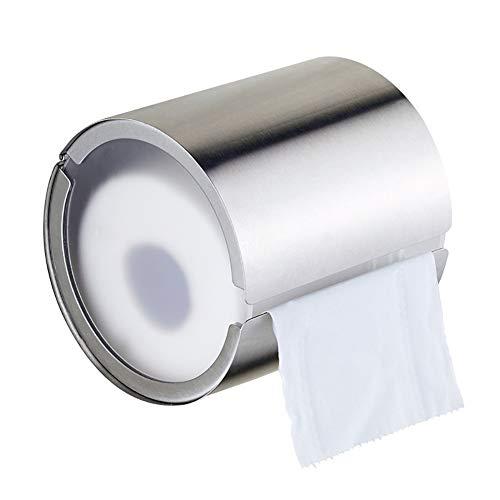 Toilettenpapierhalter Gewerbe Badezimmer, Edelstahl Geschlossener Toilettenpapier-Rollenhalter für Rollenpapier, Silber (Color : Punch)