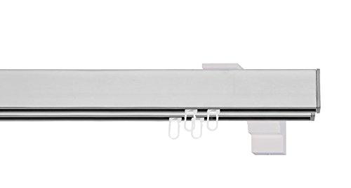 indeko BERN, eckige Gardinenschiene mit Innenlauf aus Aluminium auf Maß, 2-Lauf, edelstahloptik, Komplettset mit Zubehör