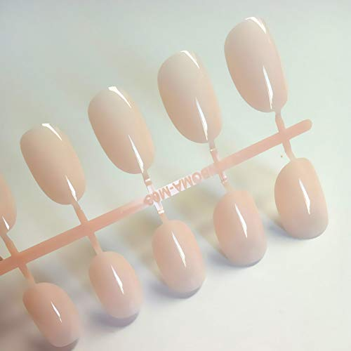 QULIN Faux ongles Artificial Oval Fake Nails Clear Plastic Soft Pink False Nails Candy Short Nail Tips/Set 24 pièces/set