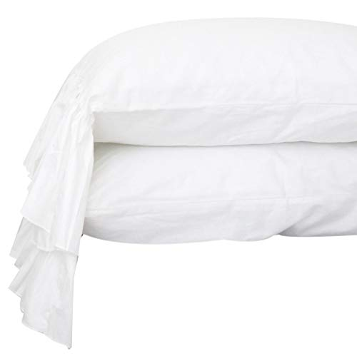Queen's House White Pillowcases Ruffle Pillow Shams Standard Size Set of 2-Style G