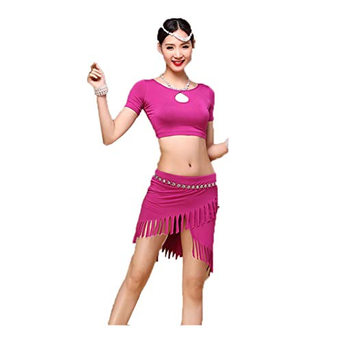 TFF Bauchtanz-Trainingskleidung Sommer-Trainingskleidung Modal Dress (Color : Purple, Size : M)