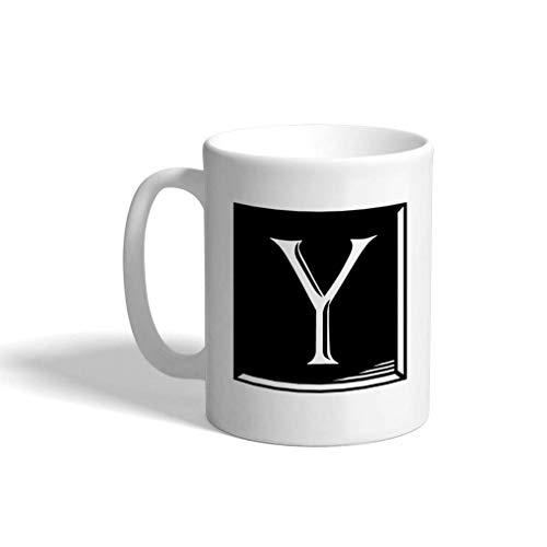 N\A Taza de café de cerámica de 11 onzas 'Y', azulejo clásico, Monograma, Letra Y, Taza de té Blanca, Solo diseño