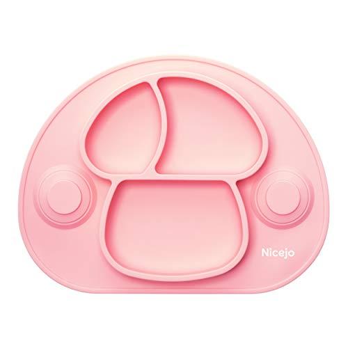 Plato Bebé Con Ventosa - Vajilla de Silicona Alimentaria - Mantel Antideslizante Para Trona - 3 Compartimentos Papilla – Niños 6-18 Meses – Apto Para Lavavajillas Y Microondas (Rosa)