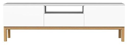 Tenzo PATCH Banc TV 2 portes, 1 tiroir, Panneaux de Particules/MDF, Blanc, 179x47x56 cm