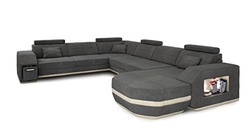 Bullhoff by Giovanni Capellini Sofa Couch Wohnlandschaft XXL Stoffsofa grau modern Designsofa Ecksofa U-Form Eckcouch mit LED-Licht Beleuchtung Frankfurt