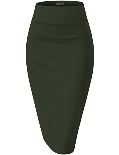 Womens Pencil Skirt for Office Wear KSK43584X 1139 Olive 3X