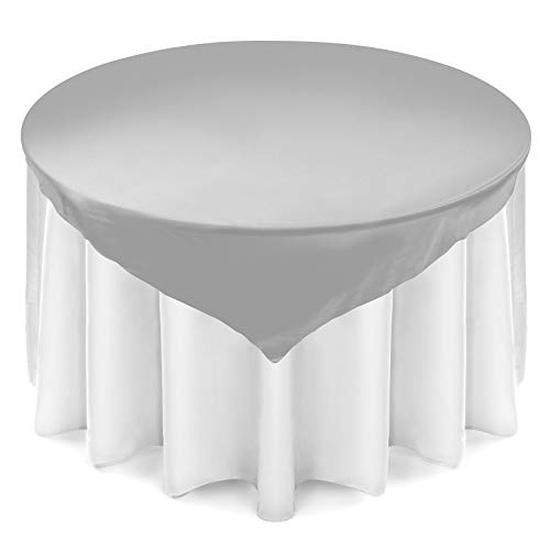 "Lann's Linens - Satin Overlay Table Topper - 72"" Square Tablecloth Cover for Wedding, Reception or Party - Silver"