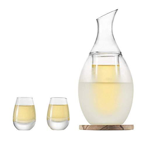 Juego de copas de sake, juego de copas de sake japonés, 250 ml de copas de decantador de vidrio de sake Juego de copas de vino con 2 juegos de copas de saki con toalla posavasos de piedra para servic