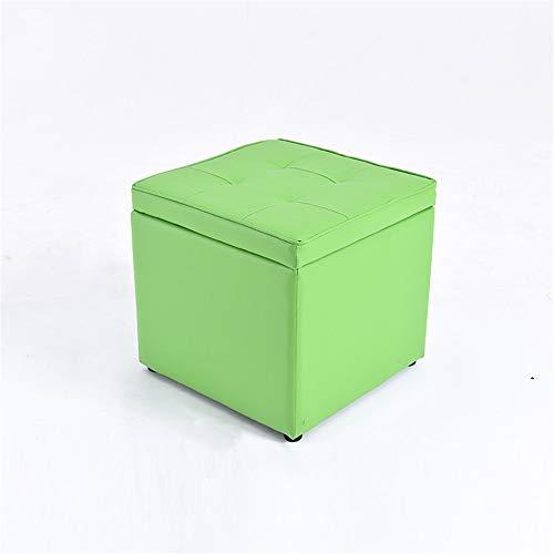 Lzcaure-HO - Sgabello per camera da letto, in legno massello, per scarpe, sgabello, in pelle, per soggiorno, divano, sgabello, in pelle, alla moda, sgabello corto, colore: Verde, taglia L