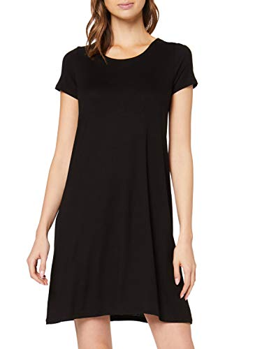 ONLY Damen onlBERA Back LACE UP S/S Dress JRS NOOS Kleid, Schwarz (Black Black), 40 (Herstellergröße: L)
