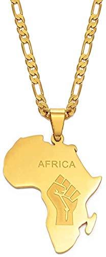 quanjiafu Collar Mapa Africano Puño Símbolo Colgante Collares Color Oro Mapas De África Negro Vidas Importa Cadenas Joyería 60Cm Collar