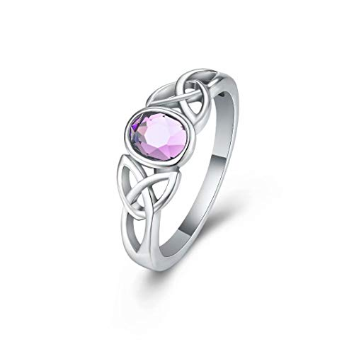 Hewayiu Birthstone Rings Celtic Knot Crystal Stainless Steel Ring for Girls Women October Size 5