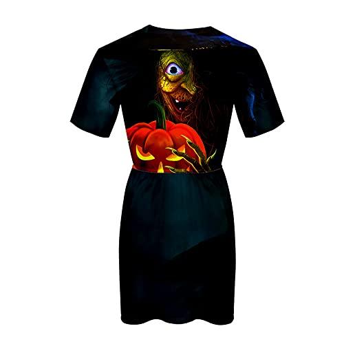 Damen Halloween Kleid Mode T-Shirt Kleid Kurzarm Knielange Kleider Geister Basic Blouson Party Abendkleid