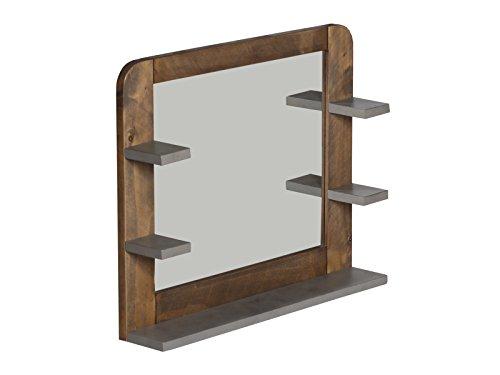 Woodkings® Badspiegel Dingle Holz Pinie Natur rustikal und MDF in Betonoptik grau Spiegel mit Ablage Wandspiegel Badmöbel Badezimmerspiegel