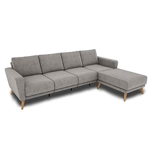 KAUTSCH Lotta Viersitzer Sofa für Wohnzimmer zerlegbar - Couch 4-sitzer - Polstersofa groß - B 260 cm - Longchair Rechts - Stahlgrau - Holzfüße aus Eiche