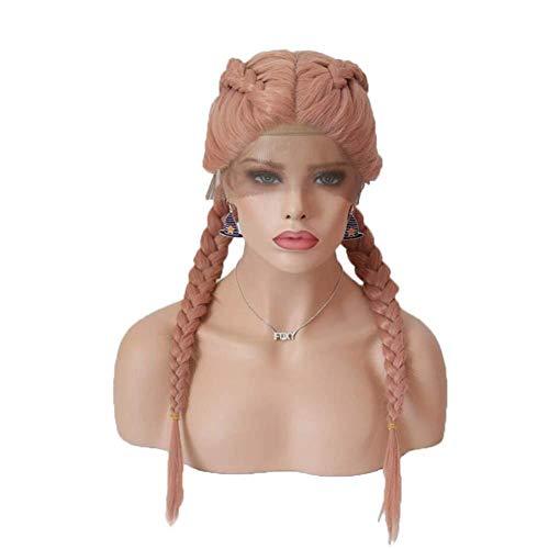Perücke, Full Lace-Front, handgefertigt, natürliche Perücke, für Frauen, hitzebeständige Faser, Kunsthaar, langes, glattes Fischschwanz, Hellrosa