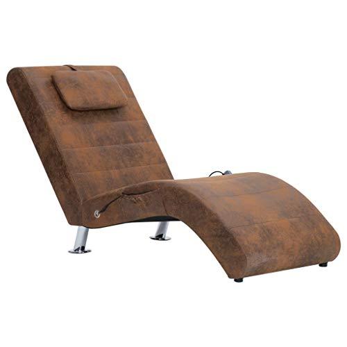Relaxsessel Relaxliege Liegesessel Loungesessel Chaiselongue mit Kissen mit 5 Massagemodi und Heizfunktion Lounge Sofa Braun Wildleder-Optik fürs Wohnzimmer - Modern Wohnmöbel - 144 x 59 x 79 cm