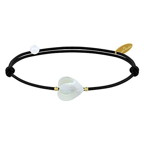 Schmuck Les Poulettes - Armband Link Kleines Herz Perlmutt und Vergoldete Perlen - Classics - Schwarz