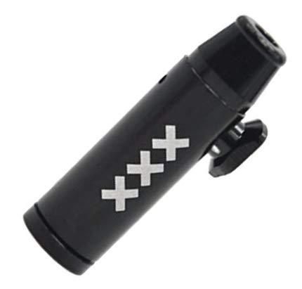 Snuff Bullet Sniffer Snorter Dispenser (Metal) Black Amsterdam Style Rocket Bullet Sniffer Snorter