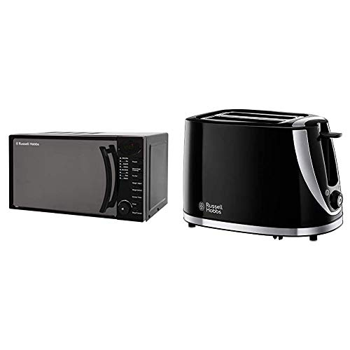 Russell Hobbs 17L Digital 700w Solo Microwave Black & 21410 Mode 2-Slice Toaster, Plastic, Black