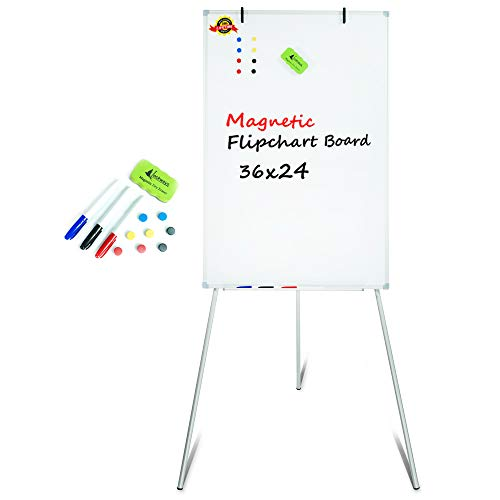 Lockways Easel Magnetic White Board, Portable Magnetic Tripod Dry Erase Flipchart 36 x 24 Inch, Silver Aluminum Frame