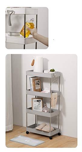 Carro de almacenamiento de cuatro capas, carro de almacenamiento deslizante, estante móvil para cocina, baño y lavandería, plástico y acero inoxidable, color blanco