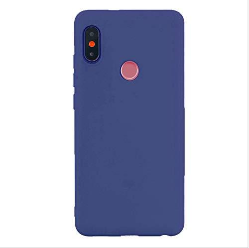 cuzz Funda para Xiaomi Redmi Note 6 Pro+{Protector de Pantalla de Vidrio Templado} Carcasa Silicona Suave Gel Rasguño y Resistente Teléfono Móvil Cover-Azul Oscuro