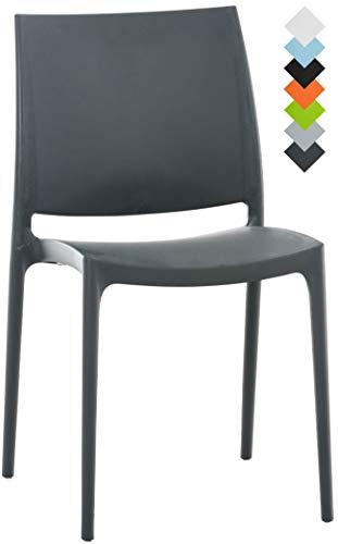 CLP XXL-Küchenstuhl Maya I Wetterbeständiger Stapelstuhl bis zu 160 kg belastbar I erhältlich Dunkelgrau