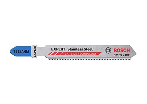 Bosch Professional 3x Lames de scie sauteuse Expert  Stainless Steel  T 118 AHM (pour Tôles en acier inoxydable, Longueur 83 mm, Accessoire Scie sauteuse)