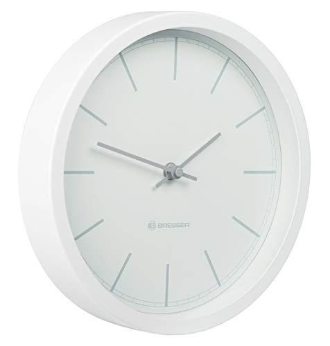 Bresser Funkuhr Wanduhr MyTime Funk 25cm mit Edelstahlrahmen und geräuschlosem Uhrwerk mit DCF Funksignal