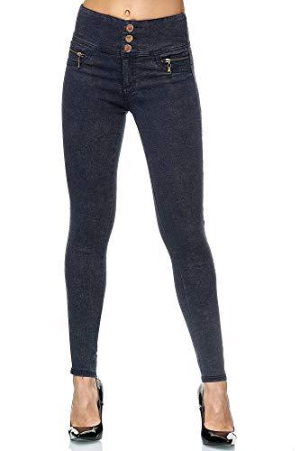 Elara Damen Stretch Hose High Waist Jeggings Chunkyrayan GB2577-7 Dk.Blue-34 (XS)
