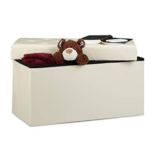 Relaxdays Faltbare Sitzbank, Aufbewahrungsbox für Stauraum, HxBxT: 38 x 78 x 38 cm, Sitzhocker, Kunstleder, creme