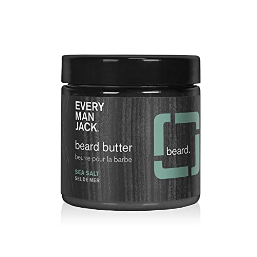 Every Man Jack Beard Butter- Subtle Sea Salt Fragrance - Rejuvenates, Hydrates, and Styles Dry, Unruly Beards While Relieving Itch - Naturally Derived with Shea Butter and Coconut Oil - 4-ounce
