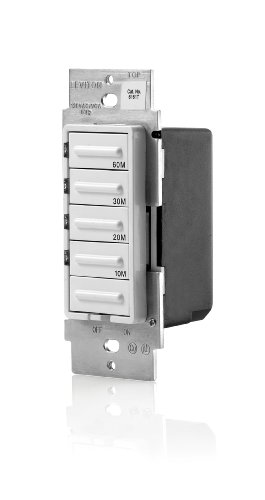 Leviton LTB60-1LZ Decora 1800W Incandescent/20A Resistive-Inductive 1HP Preset 10-20-30-60 Minute Countdown Timer Switch, White/Ivory/Light Almond faceplates included