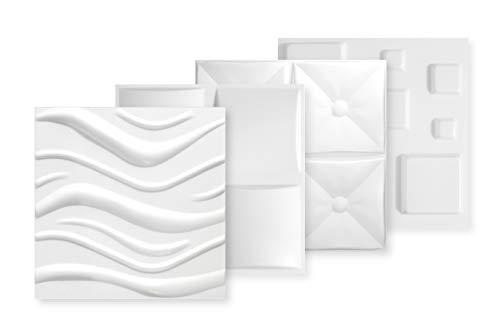 3D Wandpaneele - Große Auswahl an detaillierten Polystyrolplatten für effektvolle Wandgestaltungen, EPS deutliche Musterung, leicht und stabil - 1 qm 50x50cm Pillow