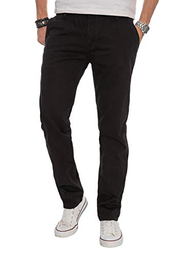 Alessandro Salvarini Herren Designer Chino Stoff Hose Chinohose Regular Fit AS016, 34W / 30L, Schwarz