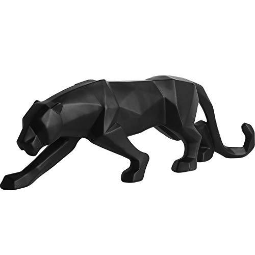 ZXDH Estatua de Adorno de Pantera Modelo de Resina de Leopardo Adornos artesanales Barra de Oficina Escultura Negra Origami geométrico decoración Abstracta Regalo 26cm * 5cm * 8cm, Negro, s